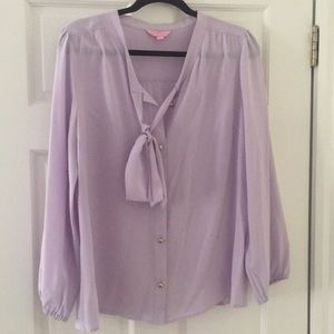 Lilly Pulitzer Lavender Silk Top Pussy Bow size L